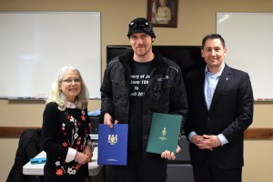 Councillor Cyndi Schaffer, Eric Hall and MP Jamie Schmale