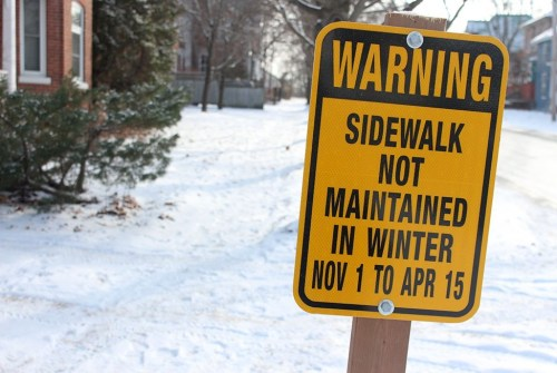 Signs going back up on sidewalks that aren't maintained through winter
