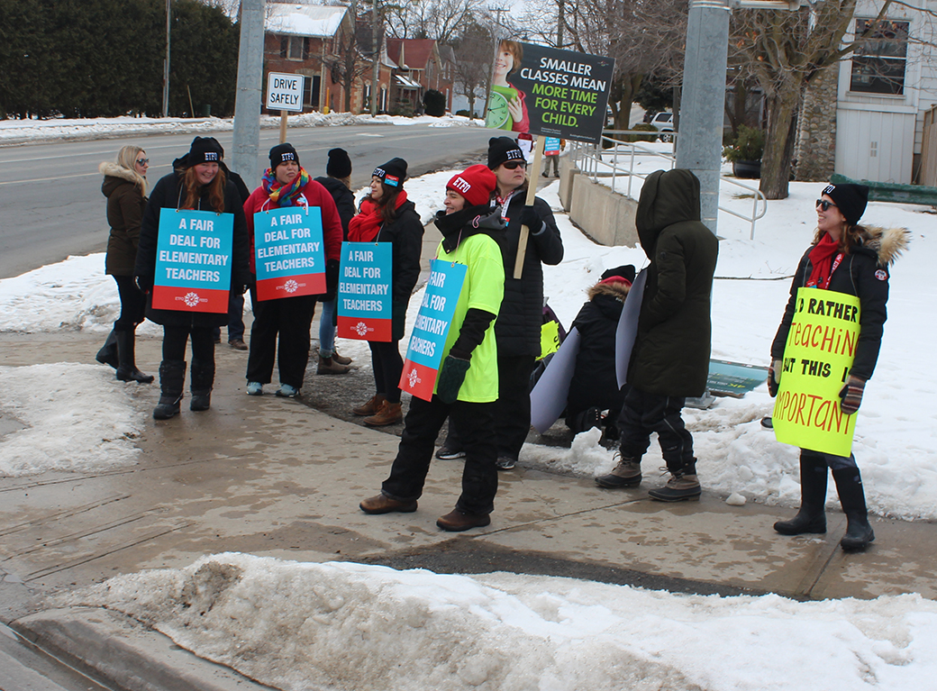 Striking public elementary teachers hit picket lines in Brock