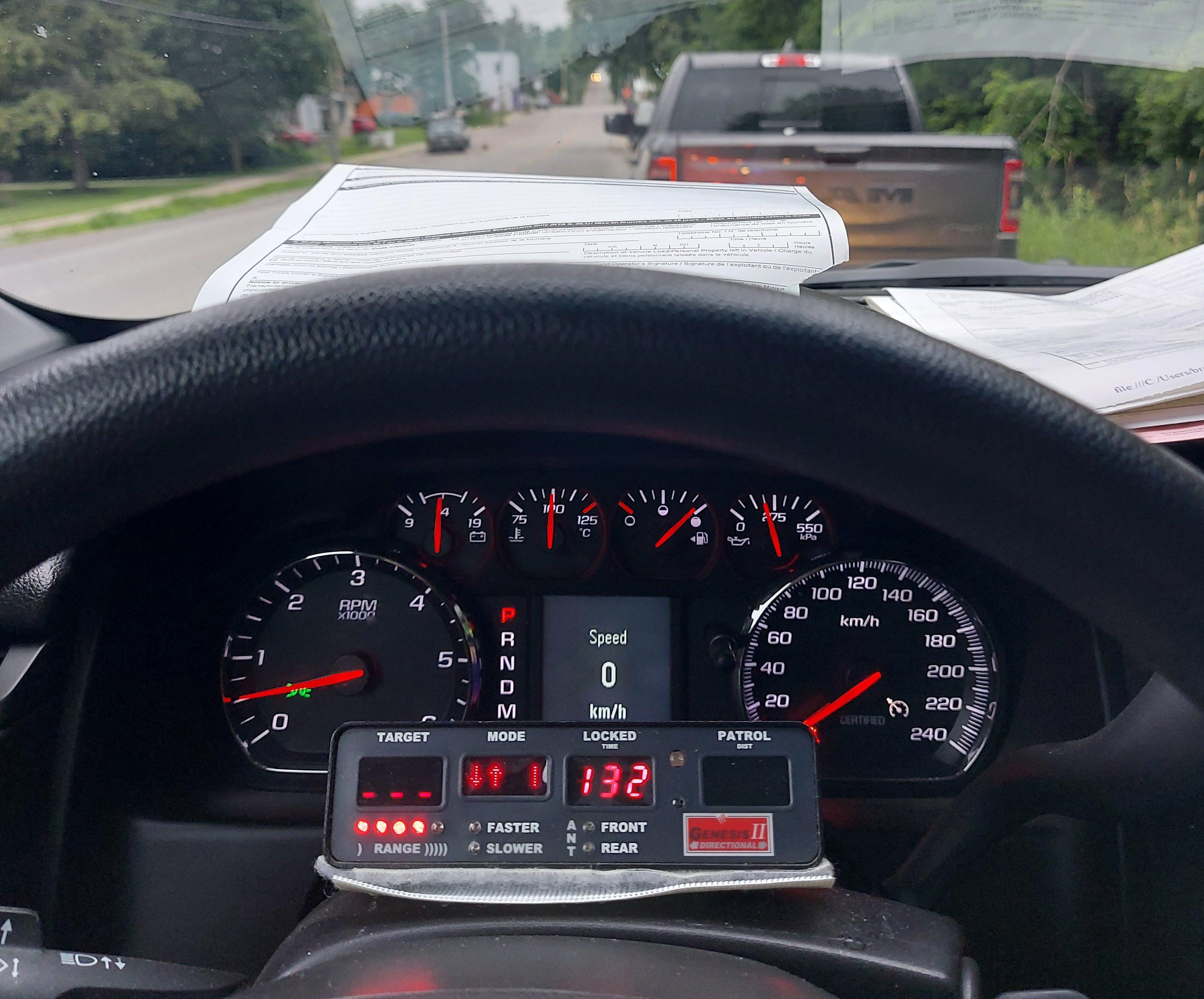 Sebright motorist allegedly clocked at 132 km/h on Kirkfield Road