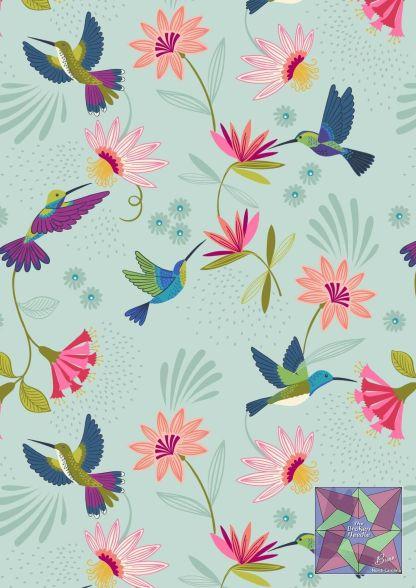 Lewis & Irene - Hummingbirds on Duck Egg -A429.2