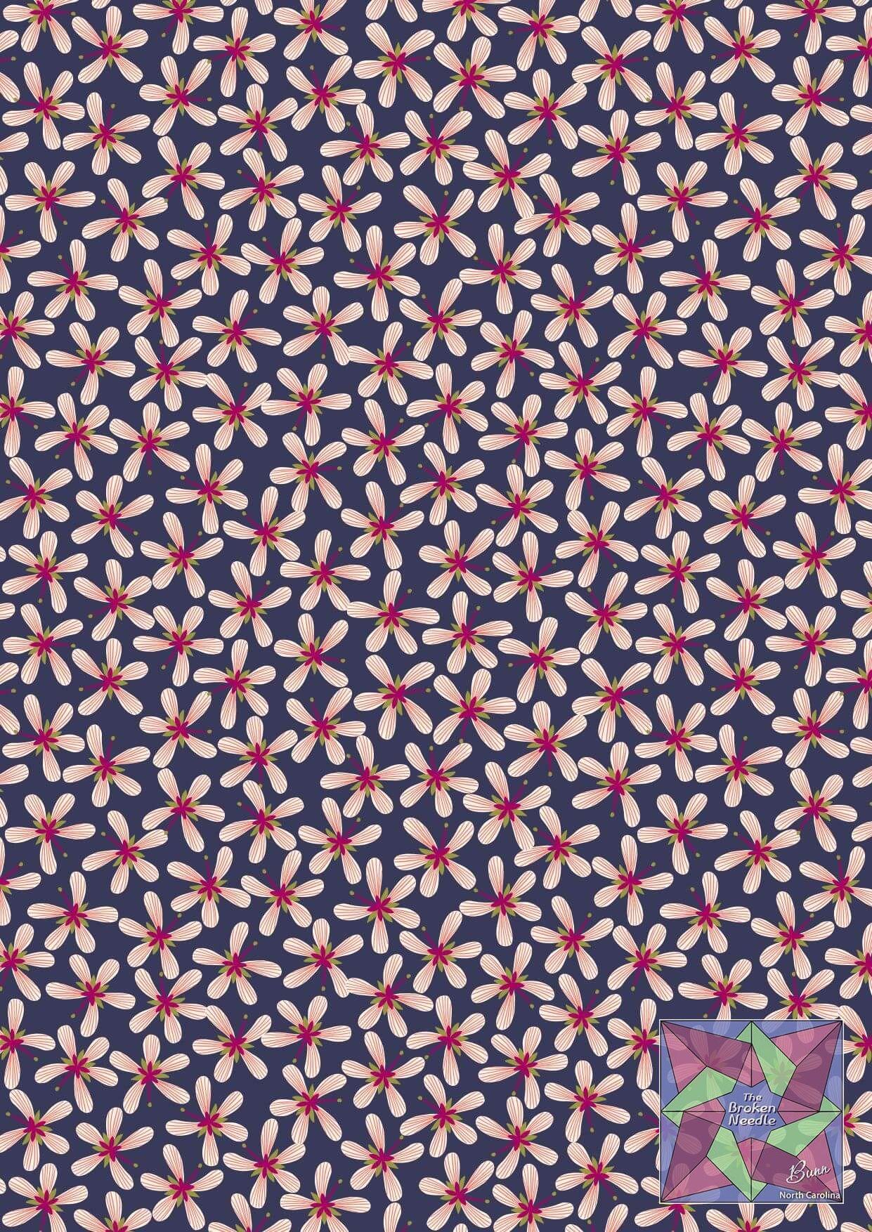 Lewis & Irene - Stripy Flowers on Dark Blue- A433.3