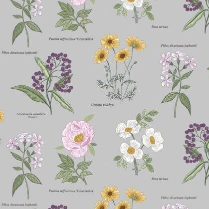 Lewis & Irene - Botanic Garden - Flowers on Light Grey - A453.2