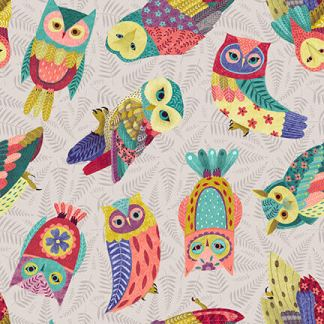 Blank Quilting - Owl Prowl by Susan Taylor - Tossed Owls- 1138-90