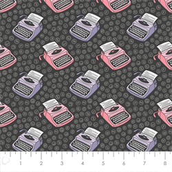 Camelot Fabrics - Literary - Typewriters - Charcoal