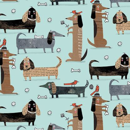 It's Raining Cats and Dogs by Terry Runyan - Long Dogs - Teal