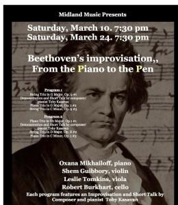 Beethoven, concert, piano, violin, ciola, cello, Shem Guibboru, Leslie Tomkins, Robert Burkhart, Piano to Pen