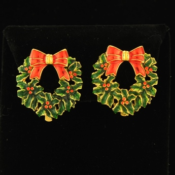 Christmas Wreath Clip Earrings The Brooch And Bangle