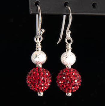 ruby red sparkler earrings
