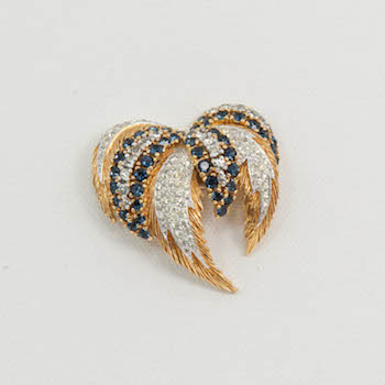 Panetta vintage crystal feather brooch