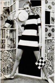 Twiggy wearing a geometric pattern dress