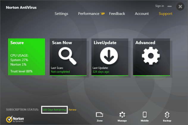 Norton Antivirus 2014 with 180 Days free Subscription
