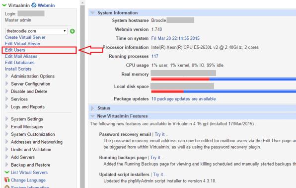 Edit Users in Virtualmin