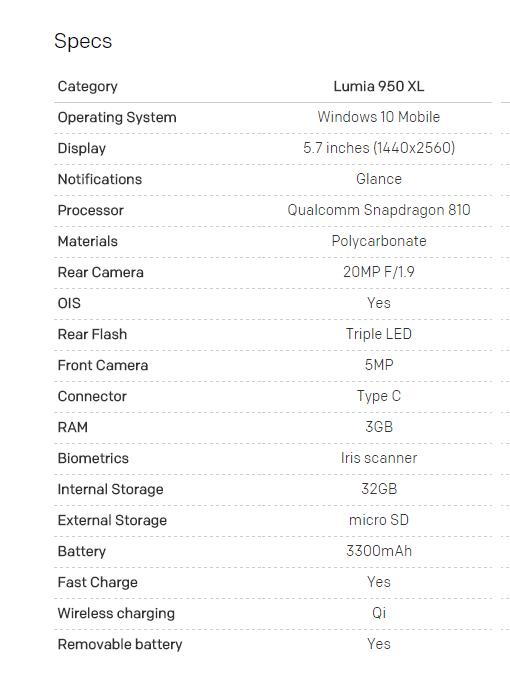 Microsoft Lumia 950 XL Spec sheet