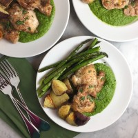 Roasted Chicken Thighs over Herbed Pea & Spinach Puree