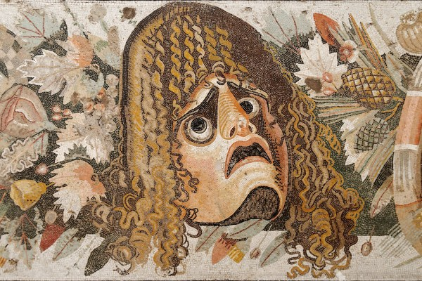 Mosaic depicting a tragic mask in the midst of fruits, flowers and garlands, from the House of the Faun, Pompeii, Naples Archaeological Museum