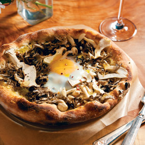 mushrooms, parmesan,oreganoand farm egg pizza