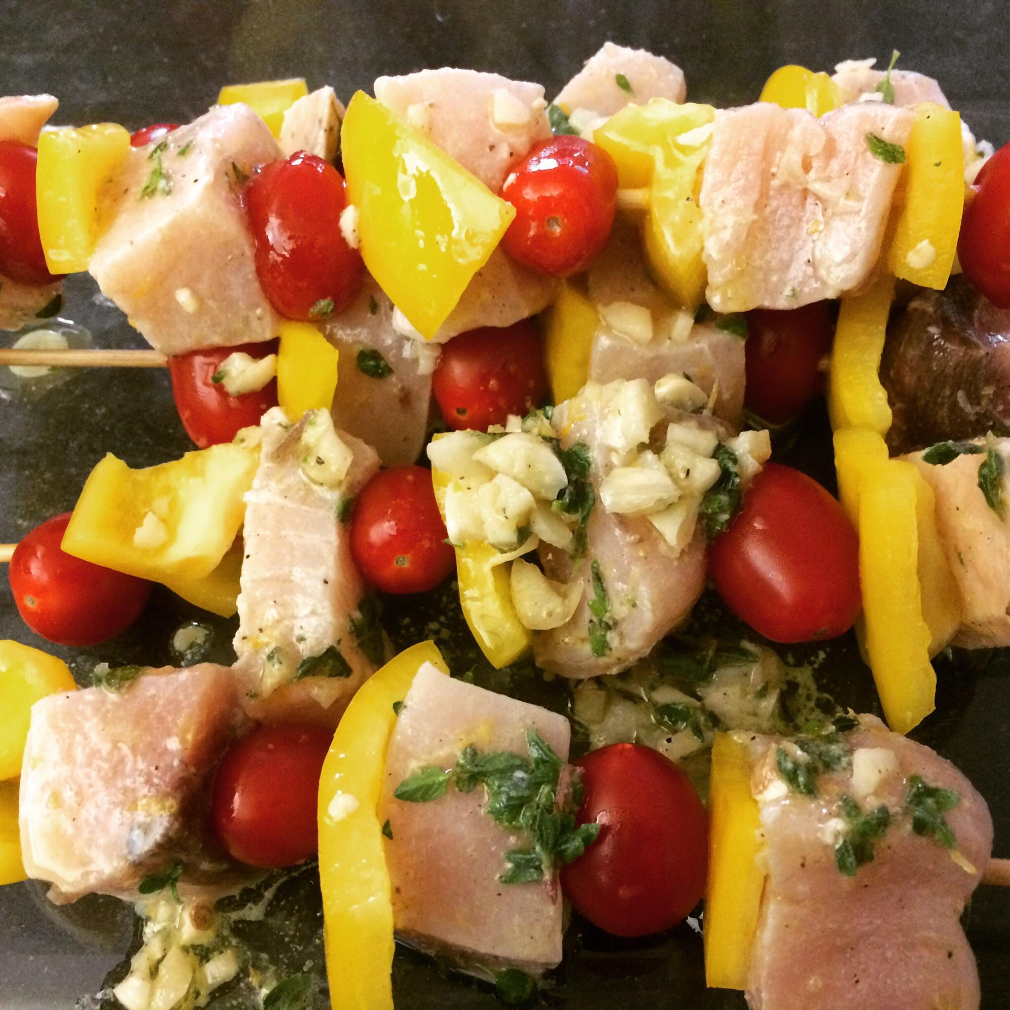 Lemon, Garlic, and Oregano Swordfish Kebabs