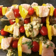 Lemon, Garlic, and Oregano Swordfish Kebabs