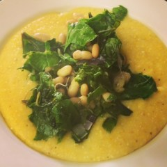 Insanely Delicious Polenta  with Swiss Chard and White Beans