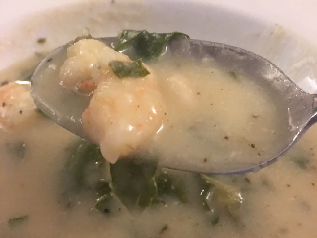 White Bean Soup with Shrimp and Kale