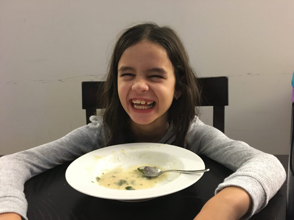 Kid approved white bean and shrimp soup!