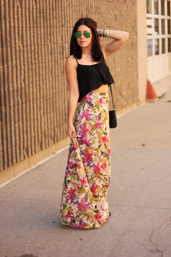 My Style: Crop Top   Floral Maxi Skirt - The Brunette One