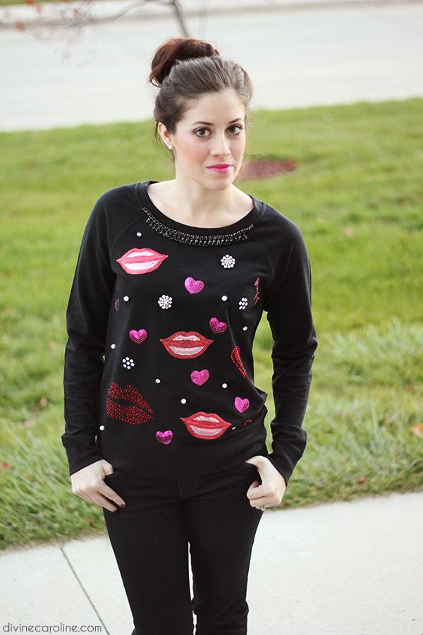 The Brunette One DIY Embellished Sweatshirt