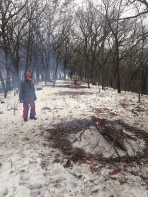 and got lots of brush cut and burned -- Lindsay keeps and eye on the fire
