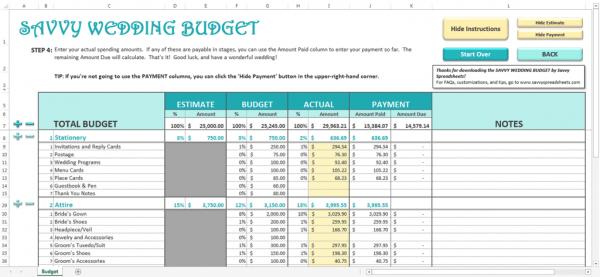Savvy Spreadsheets  Wedding Budget Spreadsheets  The Budget Savvy Bride