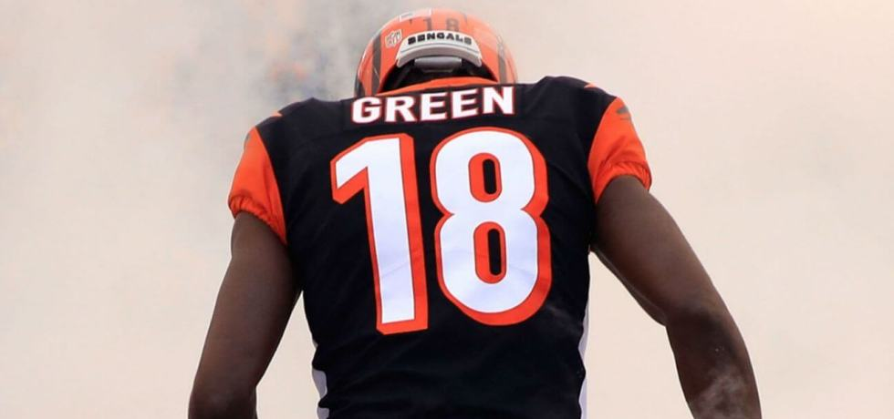 AJ Green coming out of the tunnel at a home game.