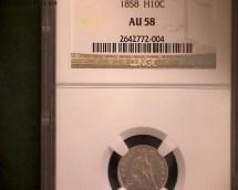 1858 Half Dime Whole