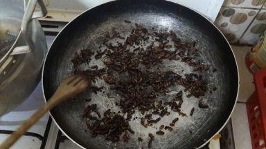 termites ailes dans la poelle