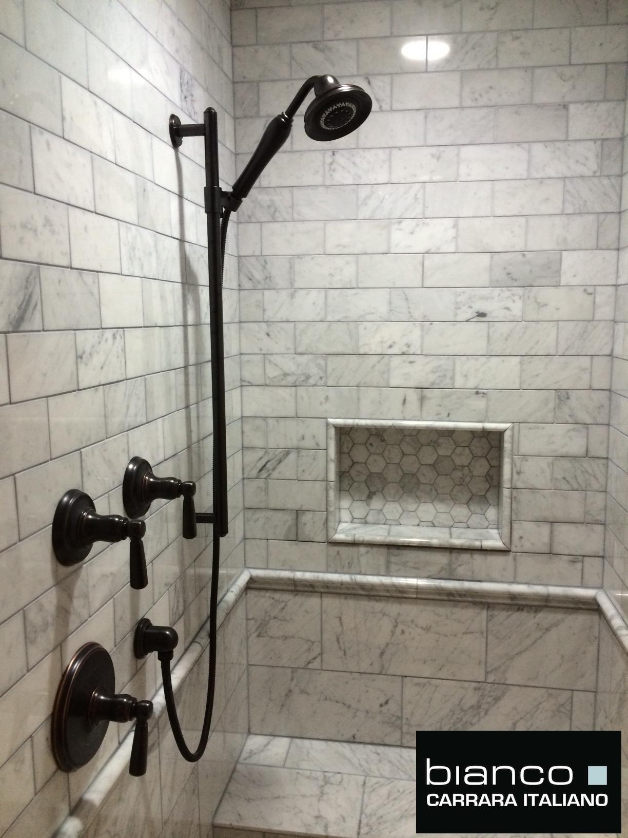 Carrara Bianco Polished Marble Bathroom  the builder