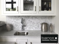 Carrara Bianco Herringbone Backsplash Mosaic Tile