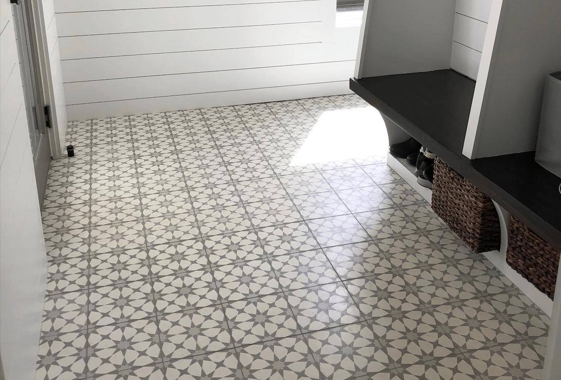 cement tile medina gray mudroom
