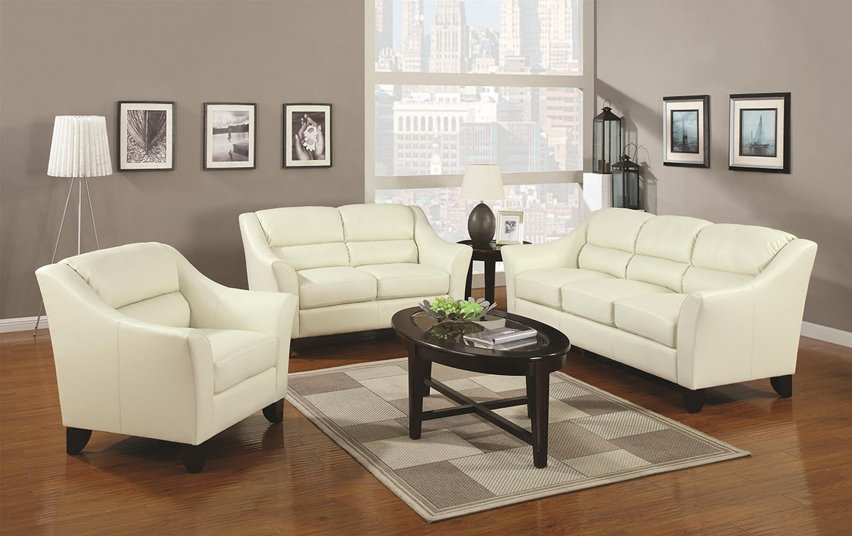 Ivory Leather Living Room Sets