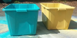 painted recycling bins and future planters