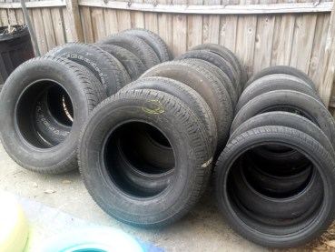 old used tires from the local tire shop