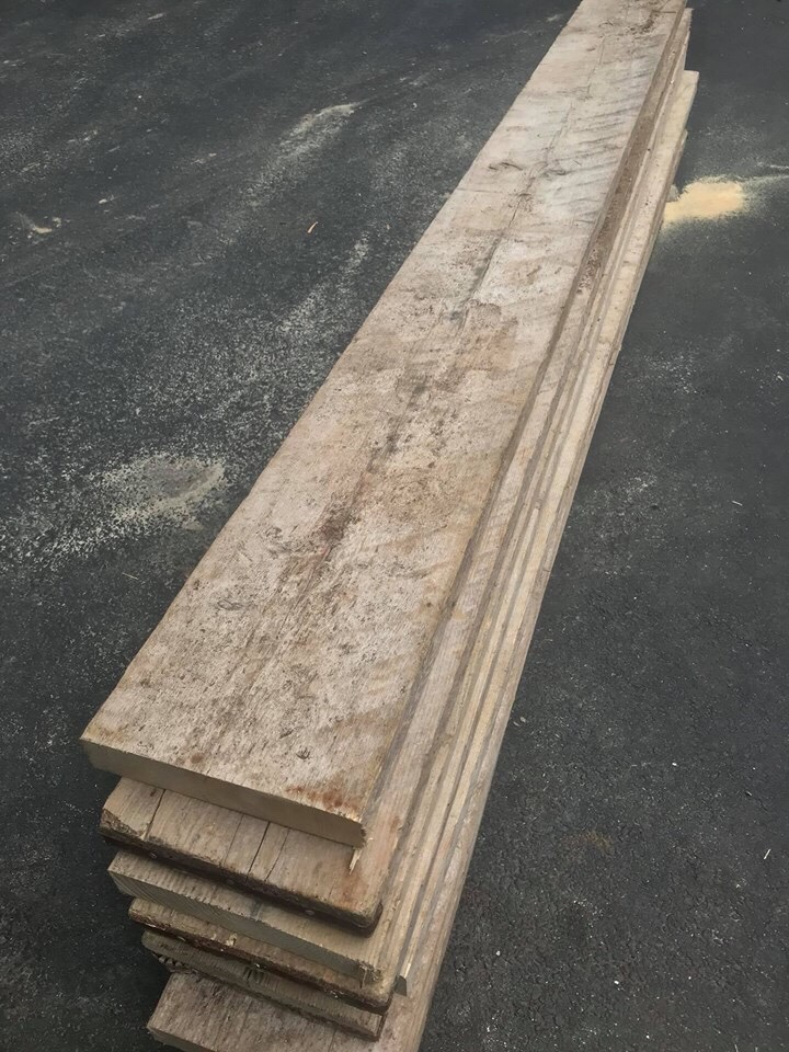 Wooden scaffolding boards