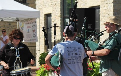 Pipes and Drums break! (Joanna, Mike, Tom, and Steve)
