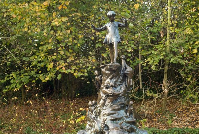 Peter Pan Statue in Kensington Gardens in London England