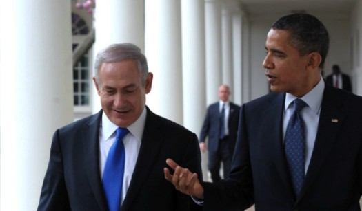 U.S. President Barack Obama makes his first visit to Israel. In this photo, he is speaking with Israel Prime Minister Benjamin Netanyahu during Netanyahu's White House visit. (Google Images)