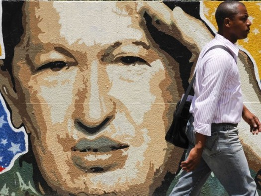 A mural of Venezuelan president Hugo Chavez who died today. He was 58. (Google Images)