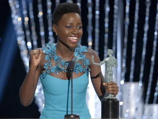 Lupita Nyong'o wins the best supporting actress award at the 2014 Screen Actors Guild awards. (Photo Credit: Google Images)