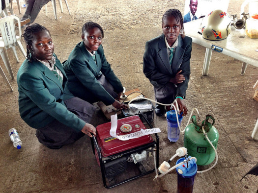 Three of the Nigerian girls with their invention. (Photo Credit: Makerfaireafrica.com)