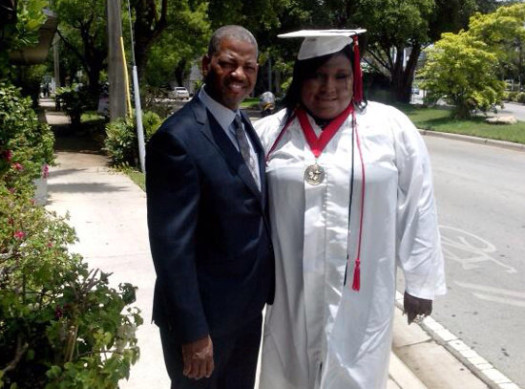 Rachel Jeantel poses with Rod Vereen, the lawyer representing Trayvon Martin's family. (Photo Credit: Google Images)
