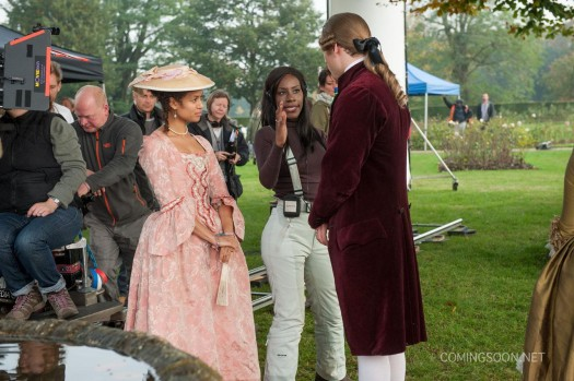 Director Amma Asante directs Gugu Mbatha-Raw on the set of 'Belle.' (Comingsoon.net)