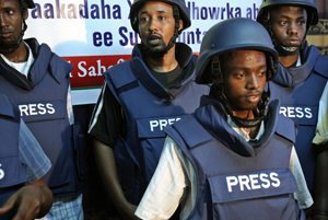 Somali journalists in body armor. (Google Images)