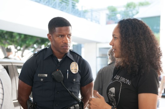 Director Gina Prince-Bythewood directs Nate Parker (Kaz) on the set of 'Beyond the Lights'. (Relativity Media)
